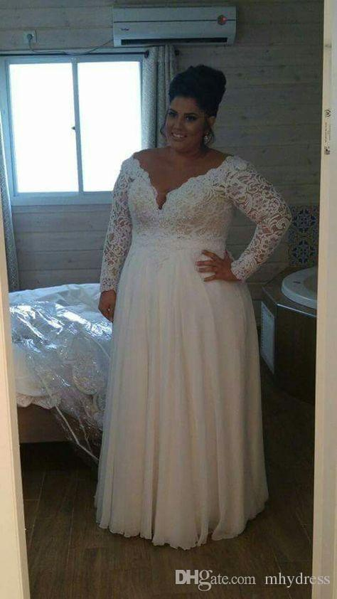 Discount Vintage Plus Size Wedding Dresses V Neck Cheap 2017 Off Shoulder  Long Sleeves A Line Chiffon And Lace Bridal Gowns Vestidos De Novia Mermaid  ...