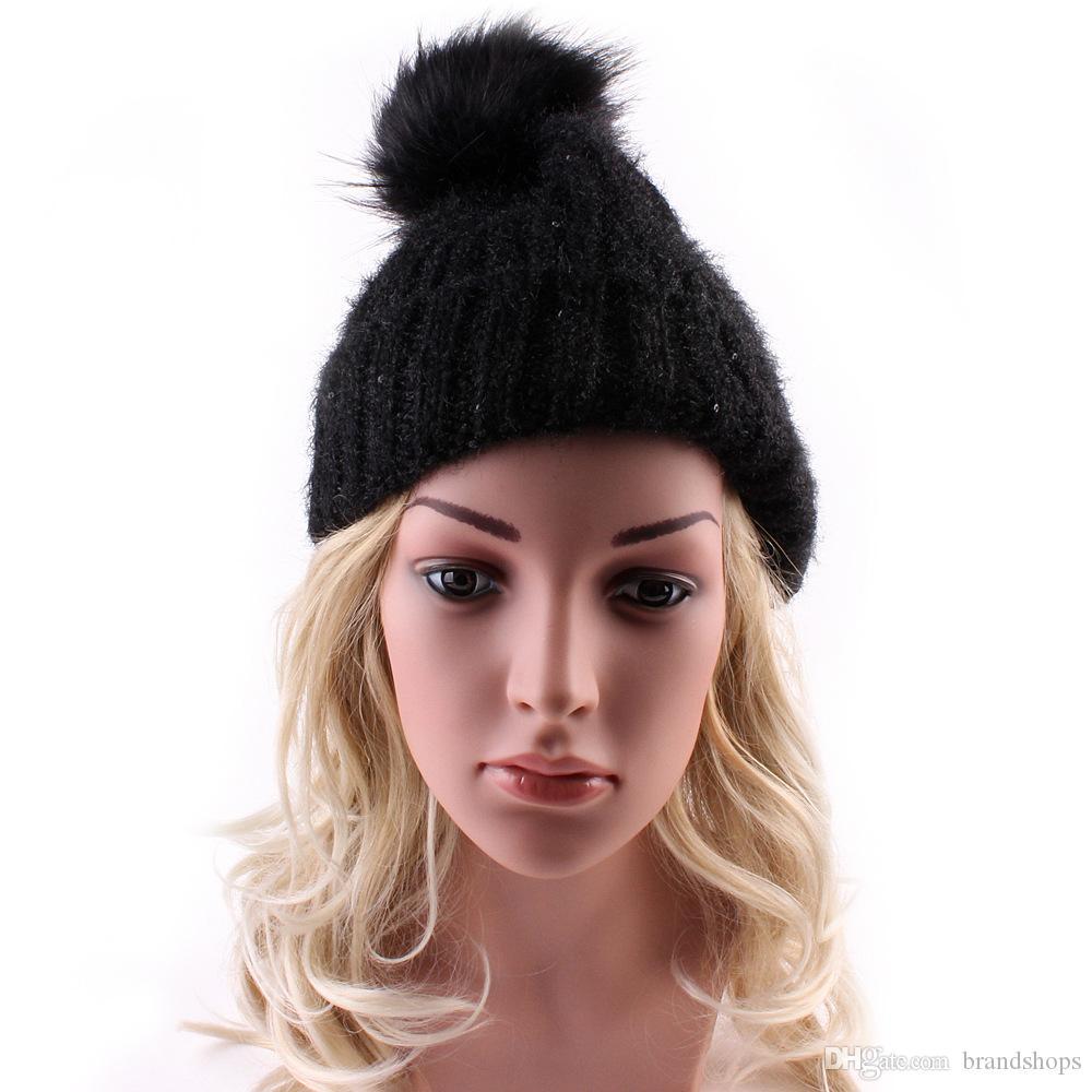 Moda Jesień Winter Kapelusze Dla Kobiet Czapki Skullies Dzianiny Mężczyźni Casual Dzianie Cap Ski Hip-Hop Bonnet Czarny