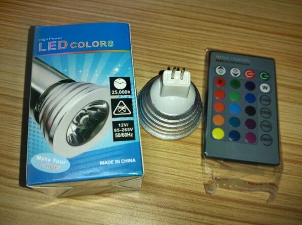 LED RGB 전구 3W 16 색상 변경 3W LED 스포트라이트 RGB 전구 램프 E27 GU10 E14 MR16 GU5.3 24 키 원격 제어 85-265V DHL