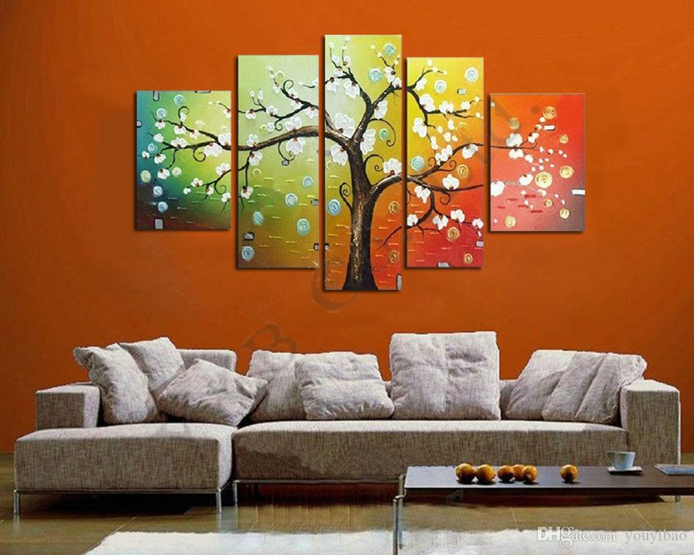 tree oil painting on canvas high quality knife white red modern wall picture for living room - Living Room Paintings