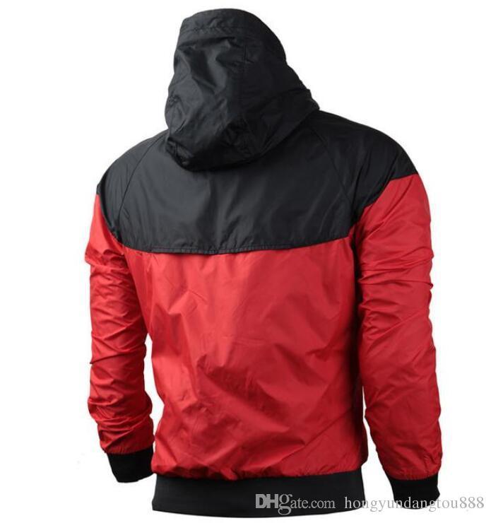 Abbigliamento da uomo Abbigliamento Uomo Poliestere Giacca a vento Giacca Cappotto Fitness Abbigliamento in esecuzione con cappuccio con zip Capispalla Rosso Taglia S-3XL