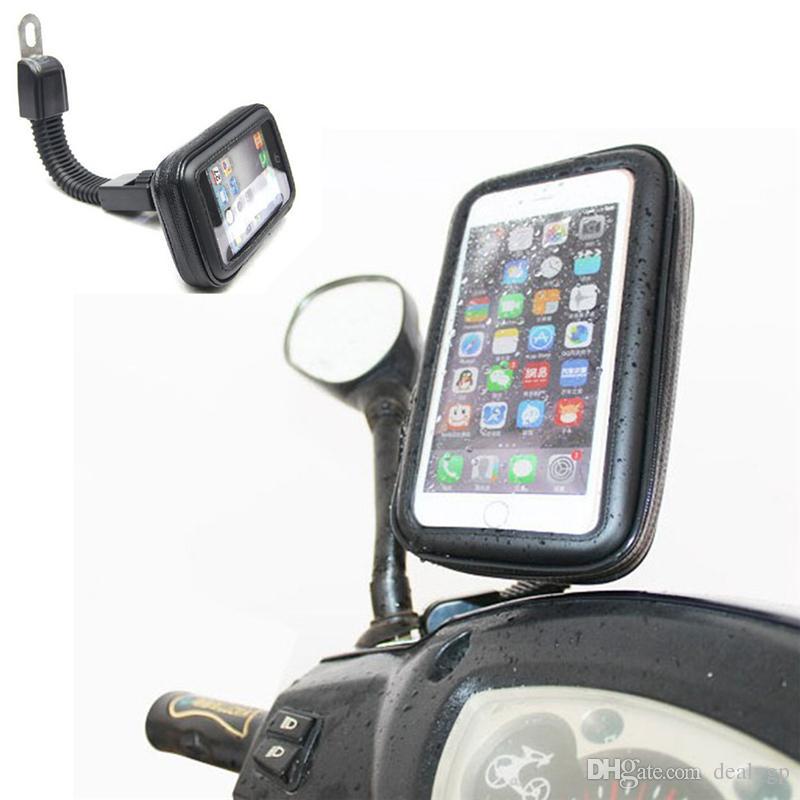 DHL Ücretsiz Motosiklet Su Geçirmez Cep Telefonu Kılıfı Çanta Motosiklet Dikiz Aynası Montaj Tutucu Samsung Iphone için