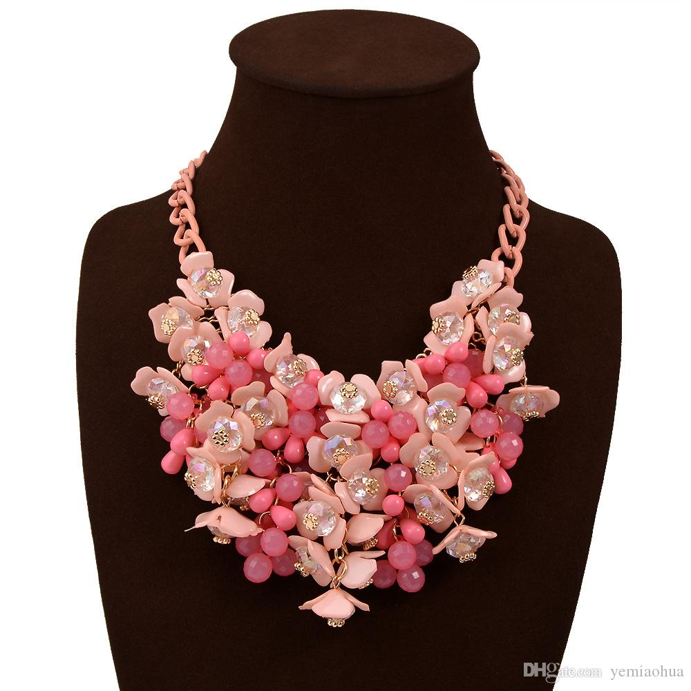 low price Fashion 6 colors small floral necklace accessories2016 Popular Thin Clavicle Chain Necklace Pendant Necklace collier exaggerated