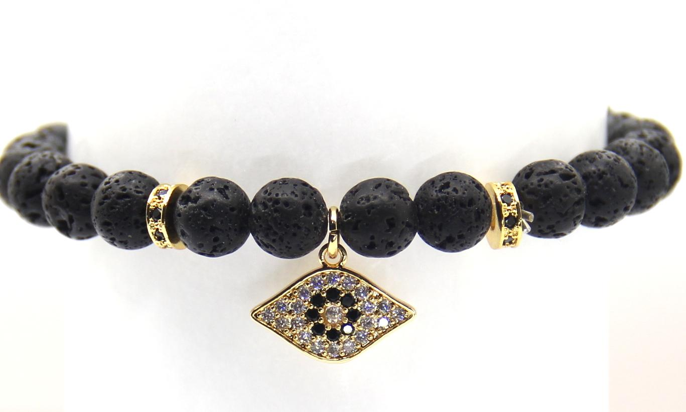 2016 gros bracelets fabriqués par 8mm pierre de lave noire avec haute qualité Micro Pave noir CZ Stoppers perles, pendentifs pour les yeux de la mode