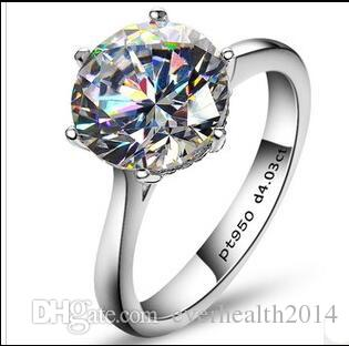 4Carat европейский и американский стиль SONA синтетических алмазов Engagement или Обручальное кольцо 925 Подлинные ювелирные изделия стерлингового серебра Кольцо Pt950 штампованные
