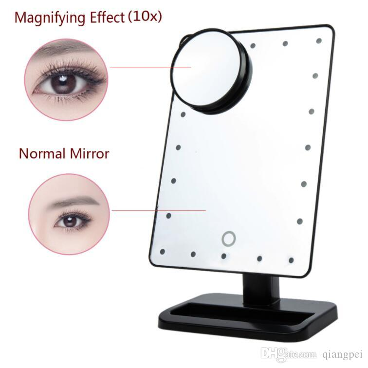 Adjustable 20 LEDs Lighted Makeup Mirror Touch Screen Portable Magnifying Vanity Tabletop Lamp Cosmetic Mirror Make Up Tool