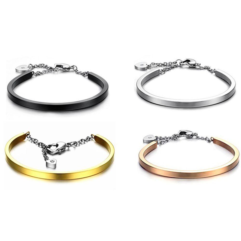 316L Stainless Steel Crystal Drill Cuff Bracelet Bangle Women Heart Shaped Pendant Wristband Bangles Bracelets Fashion Jewelry Xmas Gift