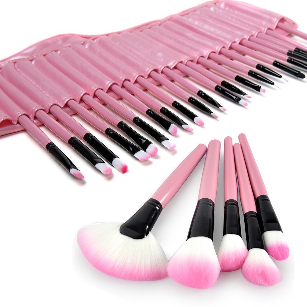 Pro 32Pcs ROSE Sac Sacoche Supérieure Douce Cosmétique Maquillage Brosse Set Kit # T701