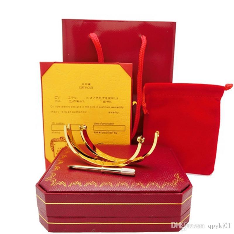 best seller titanium steel love bracelet wholesale style engraved logo brand oval screwdriver Bracelet for women men wedding origianl box
