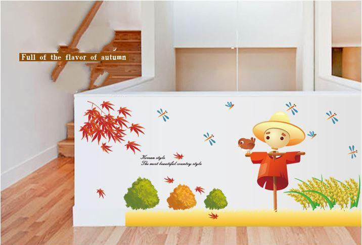 Cartoon Autumn Maple Leaf Scarecrow Stickers Removable Wall Art Sticker  Home Living Room Wallpapers French Window ...