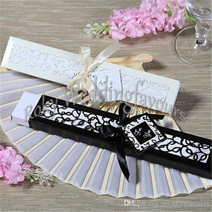 20PCS Elegant SILK FAN Wedding Party Favors with Nice Laser Cut Gift Box Package Bridal Shower Anniversary Party Supplies