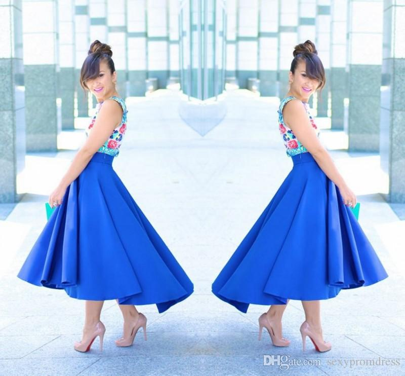 Graceful Royal Blue High Low Skirt 2017 New Fashion Satin Ruffles Women Skirt Custom Made Cheap Party Skirts Free Shipping