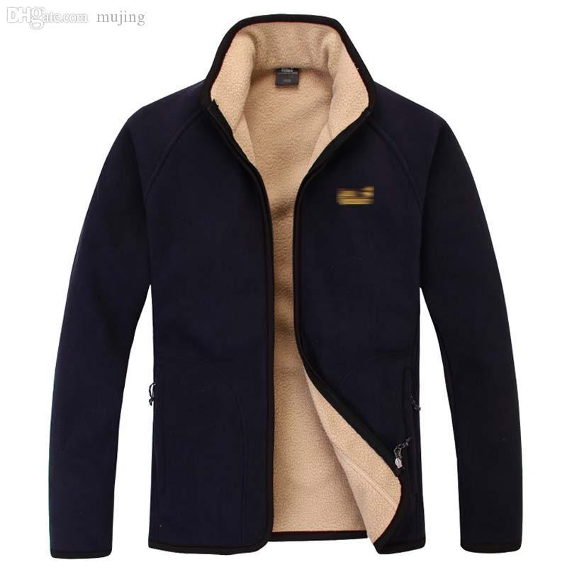 Caduta-autunno inverno warm windprood jacket uomini pile cappotto a vento a vento esterna giacca da esterno blu nero