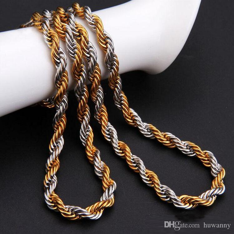 2.5mm Gold Twist Chains Necklaces For Men Titanium Steel Rope Chain Necklace 20 22 24inch Jewelry wholesale Free Shipping- 0011LDN