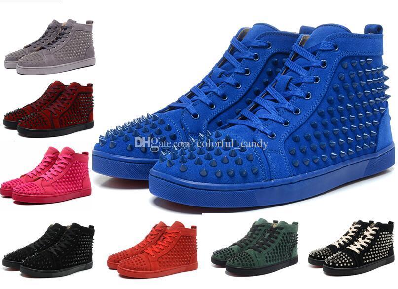 Lüks Mavi Süet Spikes Kırmızı Alt Sneakers Erkek Kadın tasarımcı Marka Ayakkabı Düz Yüksek Üst Çivili Perçin Eğitmenler Erkek Parti Elbise Ayakkabı 36-46