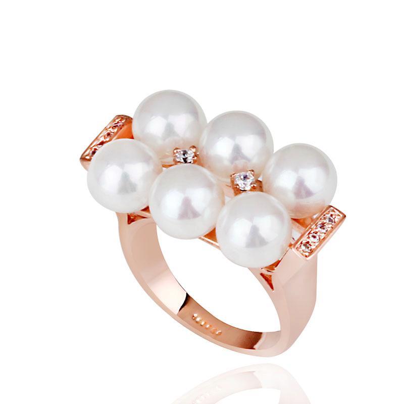 Bague en or 18 carats de luxe / Plaqué de rhodium d'imitation, bague en perles de 6pcs avec sertissage de pierres en CZ, bijoux de soirée pour femme