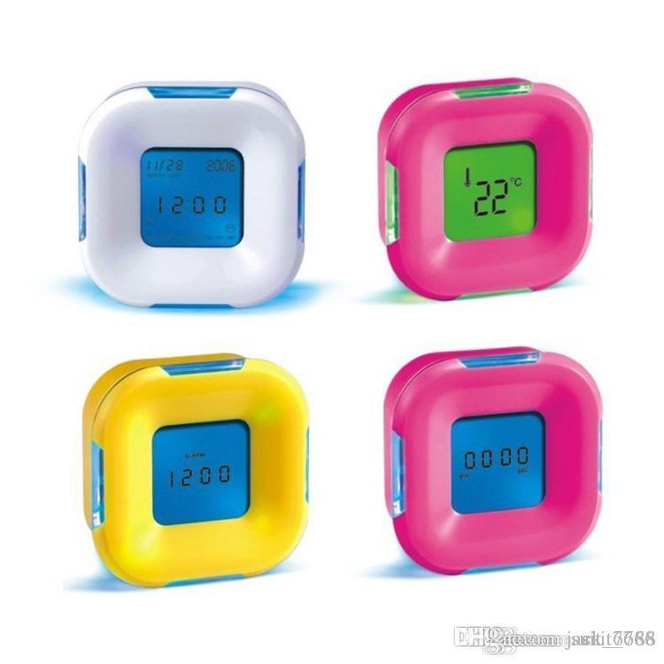 카운트 다운 시계 온도계 알람 시계 창조와 4 분 회전 화려한 luminColor 다채로운 무료 판매 공장 판매