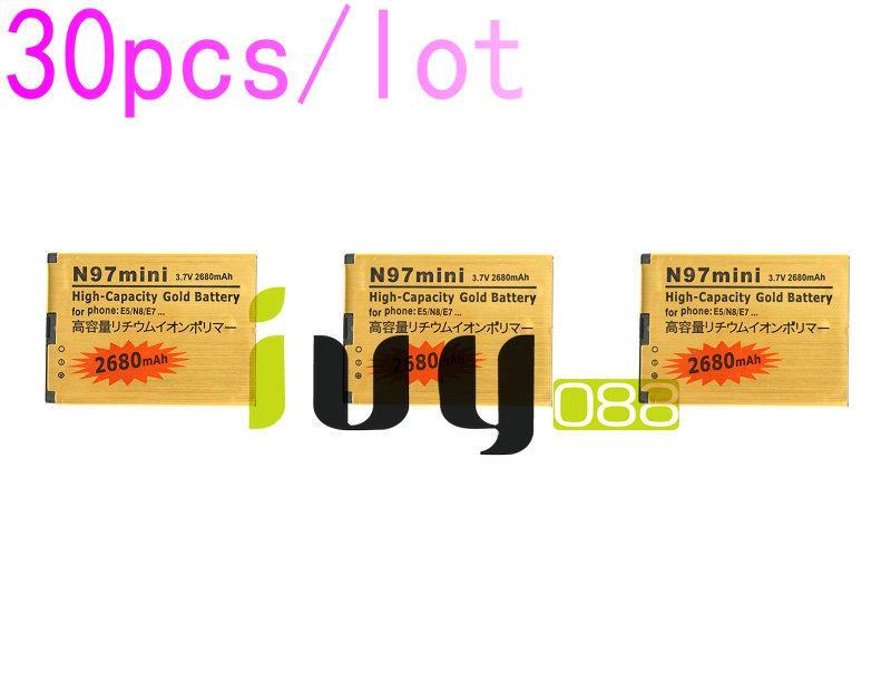 30 adet / grup BL-4D BL 4D BL4D NOKIA N97mini için 2680 mAh Altın Yedek Pil N8 E5 E7 702 T T7-00 N5 808 702 T T7 Piller