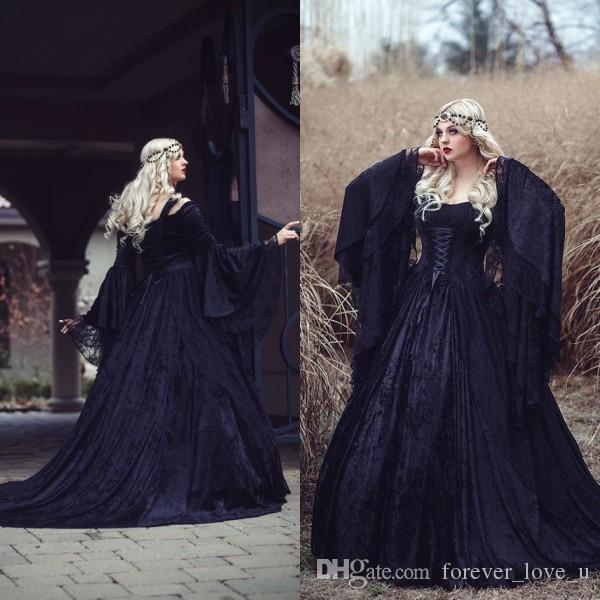 New Arrival Gothic Wedding Dresses High Quality Black Full Lace Long Sleeved Medieval Bridal Gowns Lace-up Back with Train