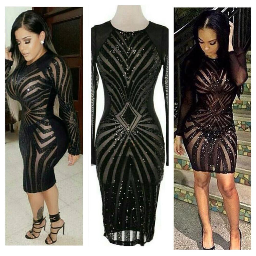29adc76bf50a New Stunning Black Sequined Sheer Sexy Evening Dress O Neck Long Sleeve  Women Bandage Dress In Store High Quality Party Dress 2016