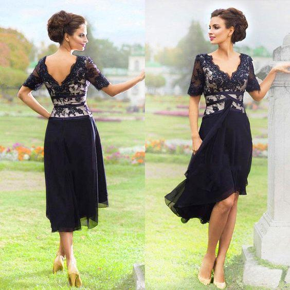 New Arrival Navy Blue 2019 Elegant Country Mother Of The Bride Dresses With Half Sleeves V Neck Lace Evening Dresses Tea Length