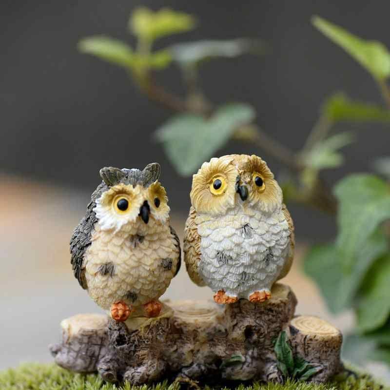 Mini Resin Exposed Foot Owls Fairy Garden Miniatures Handicraft Moss Terrarium Creative Green Plant Gift Micro Landscape Ornaments DIY Zakka
