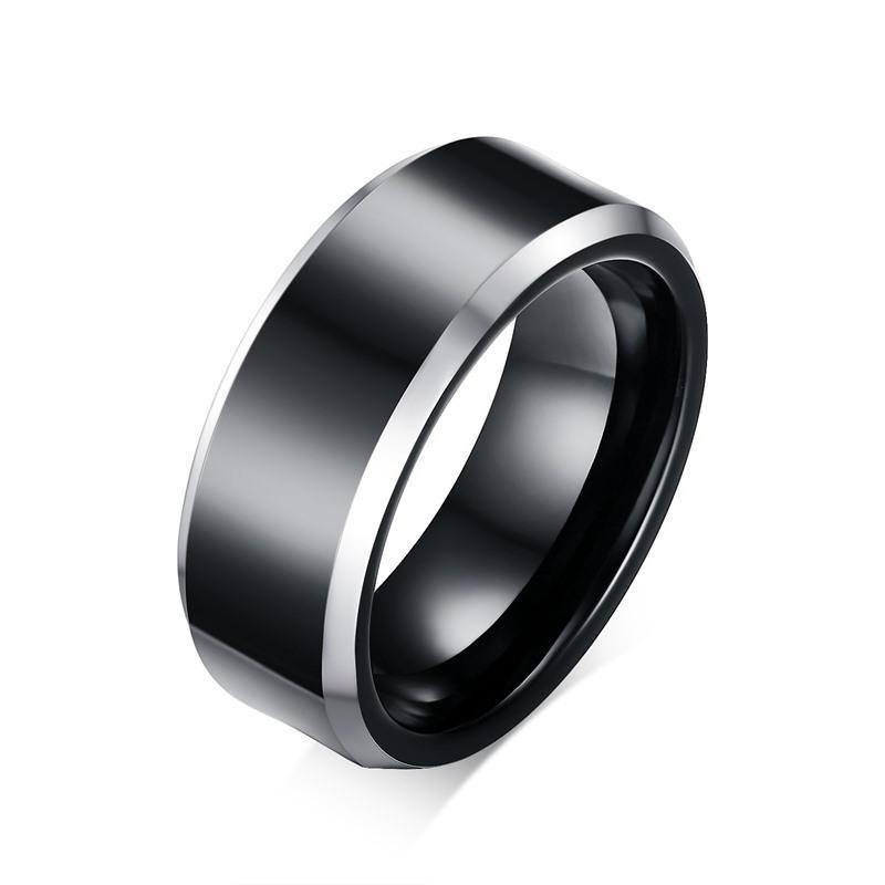 Gravura livre 8mm dos homens dois tons preto prata chanfrada carboneto de tungstênio anéis de casamento conforto fit