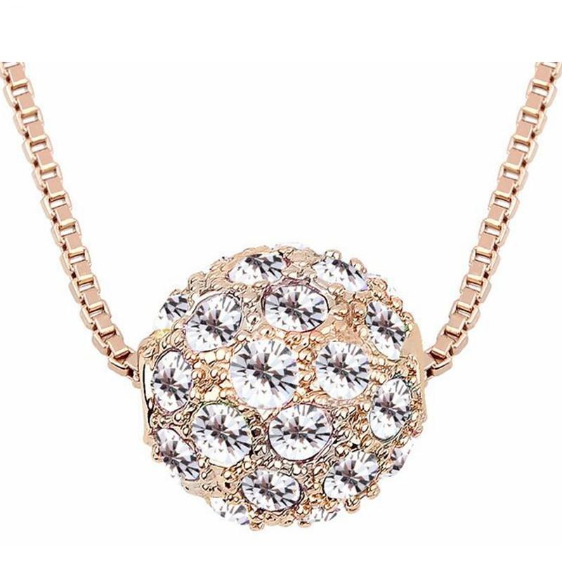 Mode-accessoires voor vrouwen merk rose vergulde shamballa kristal hanger ketting bedel sieraden (5-kleuren) 6341