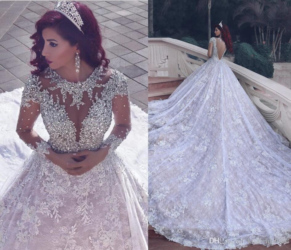 Bliski Wschód Koronki Suknie Ślubne Luksusowe Kryształ Frezowanie Backless Długie Suknie Ślubne Załoga Neck Illusion Długie Rękawy Sąd Pociąg