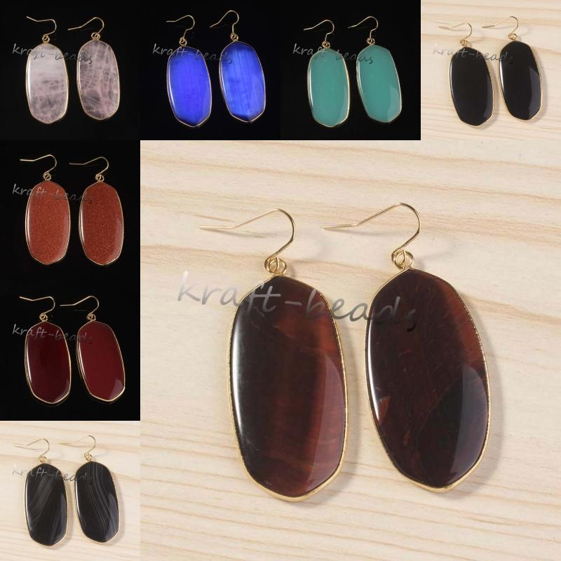 Wholesale 10Pair Gorgeous 18k Gold Plated Mixed Order Quartz Stone Oval Hook Dangle Earrings For Women Fashion Jewelry