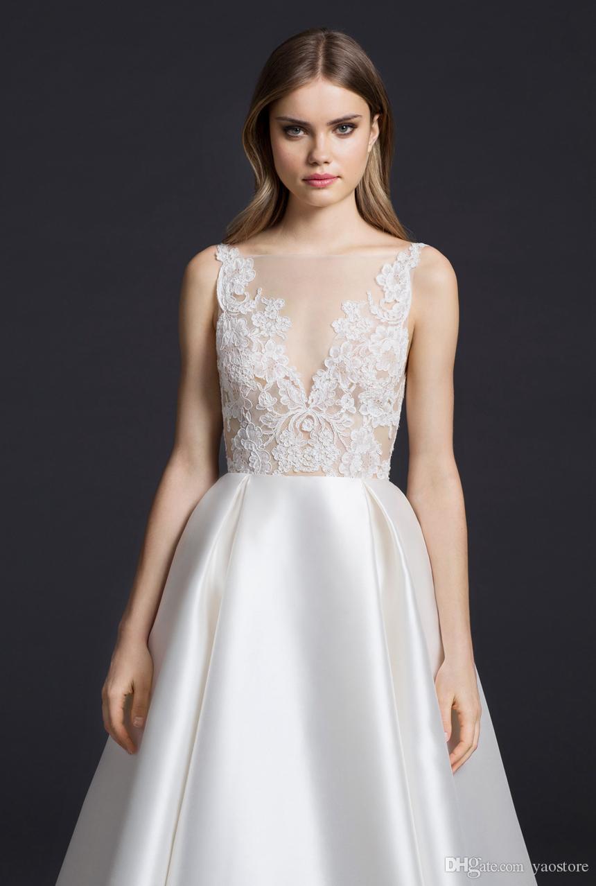 36a32f3f7 ... Vintage Ivory Silk Mikado Vestidos de novia 2016 esquileos apliques de encaje  blusa vestidos de novia