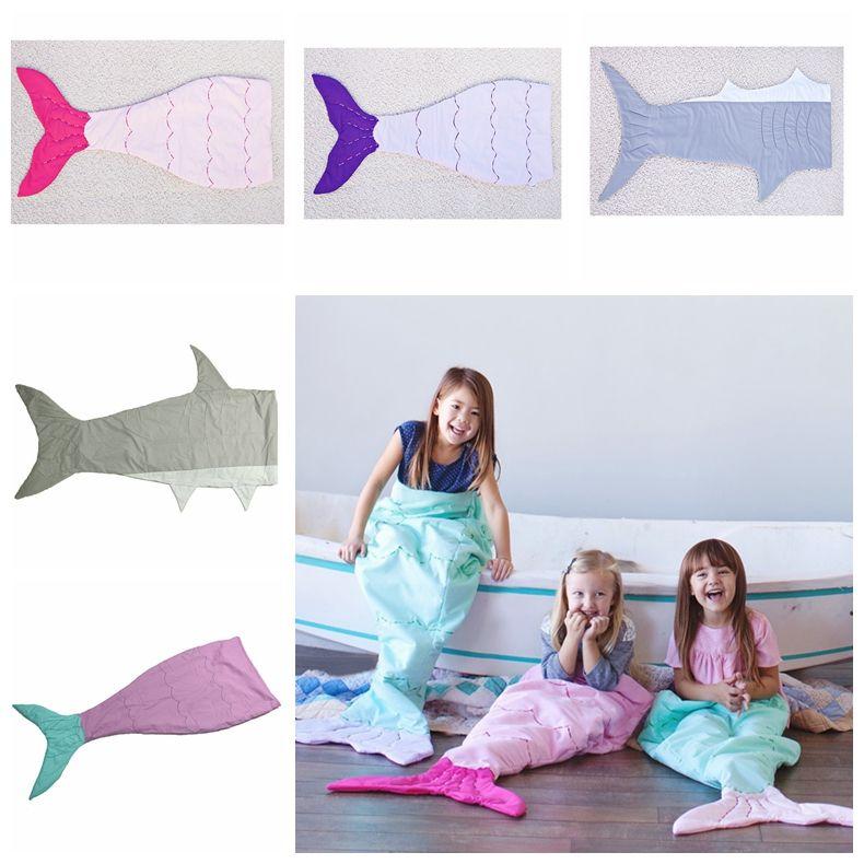 Crianças Sereia dormir Cauda Bolsas tubarão cauda Cobertores Tubarão Peixe Blanket Cocoon Colchão Sofá Quarto Cobertores Cobertores Camping viagens A1236 5