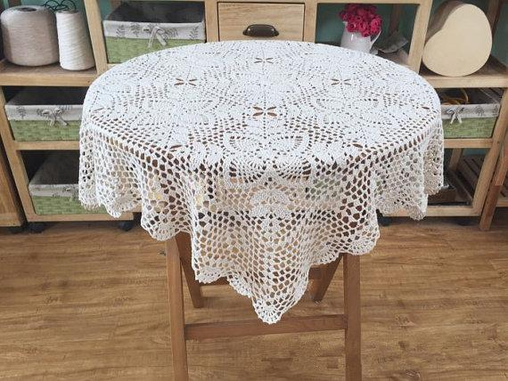 """Novo crochet padrão de tampa de mesa quadrada, Quadrado toalha de mesa estilo Vintage, Padrão chique mesa de coco para decoração de casa ~ 34x34 """"polegadas quadrado"""
