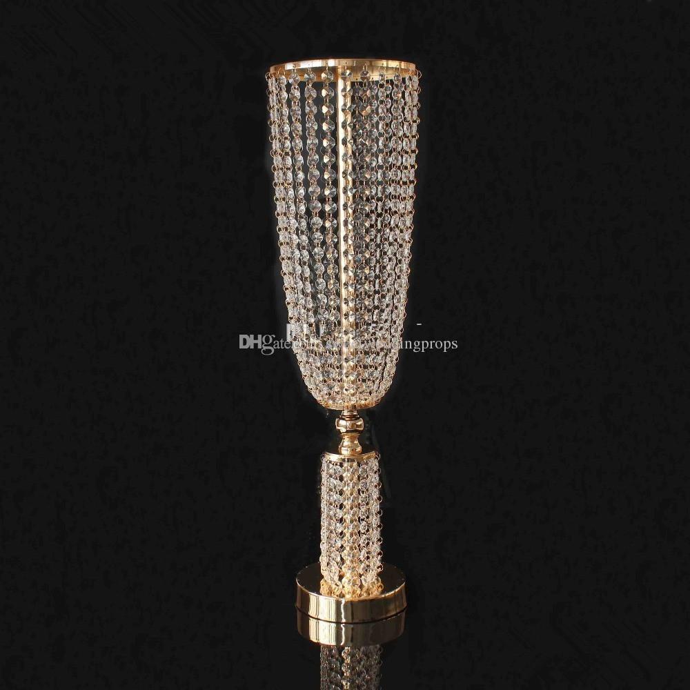 düğün sahne dekorasyon için zarif akrilik altın, demir ve kristal çiçek vazo