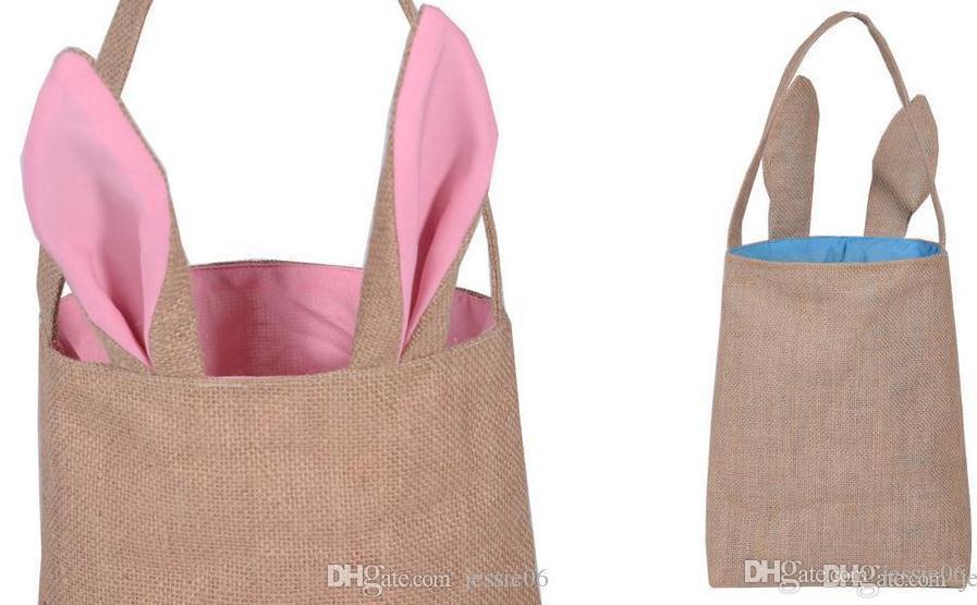 Cute Cotton Linen Canvas Easter Egg Bag Rabbit Bunny Ear Shopping Tote kids children Jute Cloth gift Bags handbag Festive Supplies 5colors