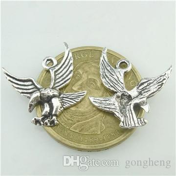 16517*50PCS Antique Silver Vintage Animal Bird Flying Eagle Pendant Charm Alloy