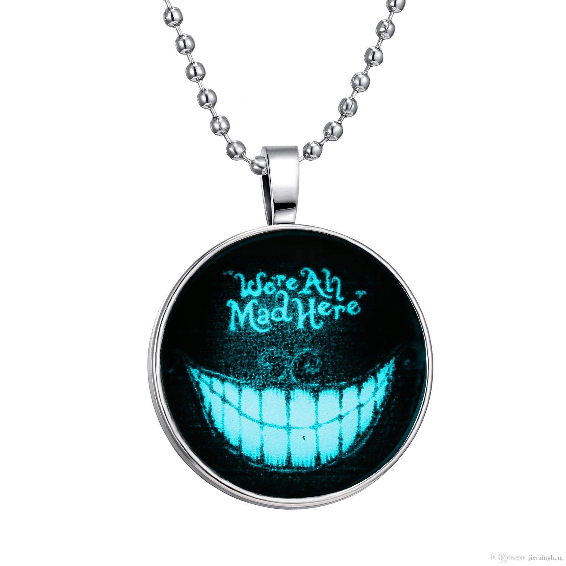 2016 Fashion jewelry Gothic Horror Creepy Cute Halloween stainless steel face Night Lights Pendant Necklace free shipping
