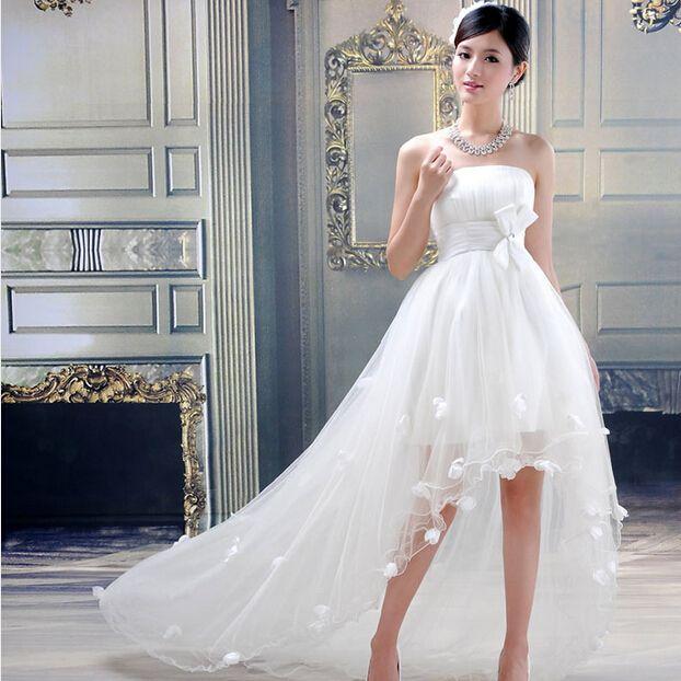 8cfb6f14e Hot Sale Sweetheart Flowers Wedding Dress Belt Front Short Long Back Ruched Wedding  Dresses Fashionable Beach Bridal Gown Romantic back