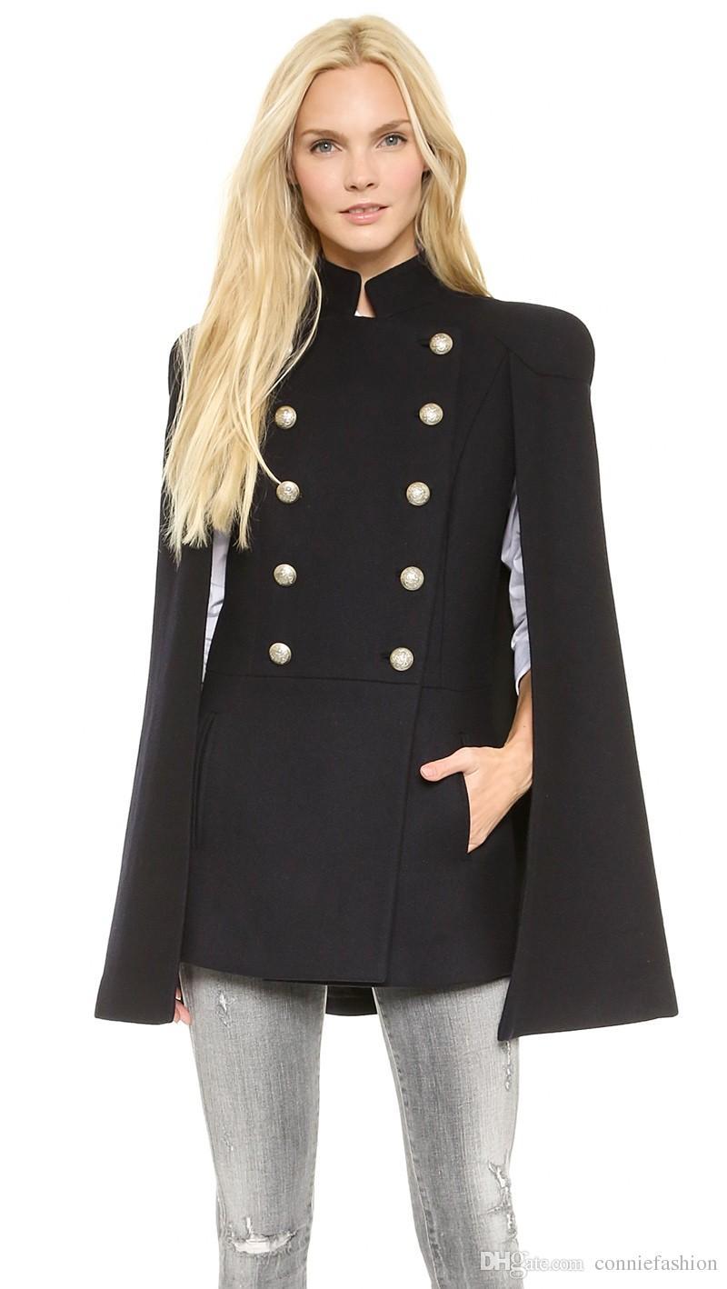 Qualität Frauen Top Designer Mantel Mode Woolen Windjacke Zweireiher Cape Uniform Großhandel Sleeveless Jacke Stehkragen Oberbekleidung Von K1JcFl