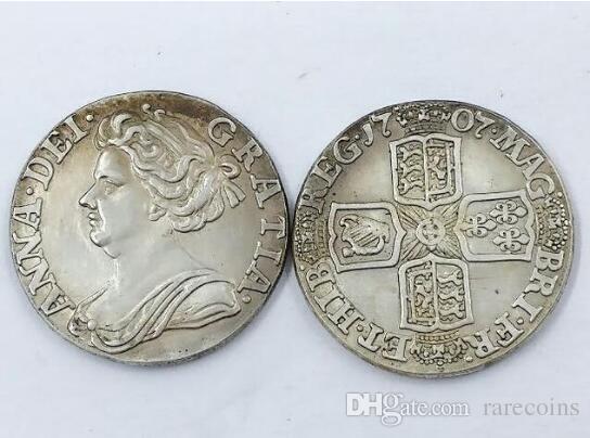 Великобритания 6 пенсов-Anne 1707 Великобритания Англия Великобритания Бесплатная доставка