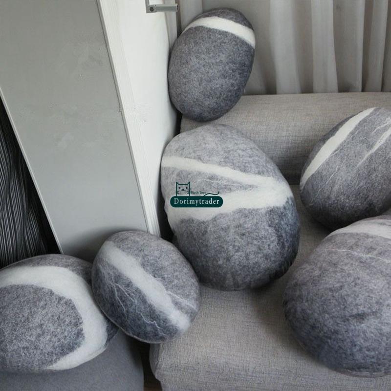 DorimyTrader Big 6 Pcs Simulado Forma de Pedra Frete Almofada Suave Crianças Macios Pelúcia Pedra Pedra Brinquedo (com algodão) Frete grátis Dy61084