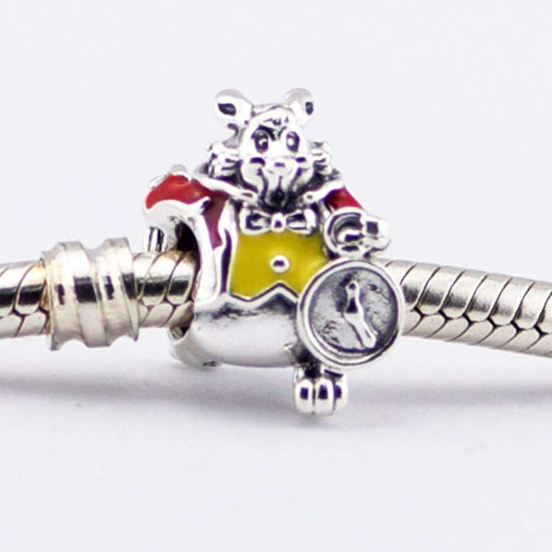 925 Conejo Sterling Silver Charm Granos blancos, se adapta de esmalte rojo amarillo para pulseras Pandora cadena de la serpiente brazaletes de la joyería Collares Europea