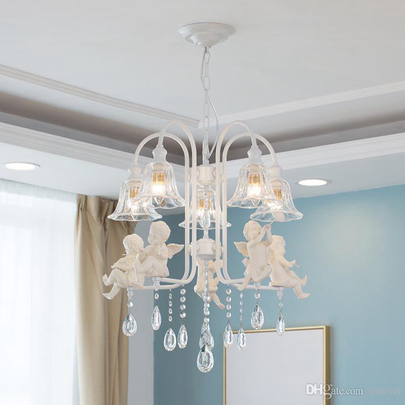 Modern Crystal Dining Room Ceiling Pendant Lamp White Resin Angel Baby European Living Room Glass Creative Metal Chain Lighting Fixtures
