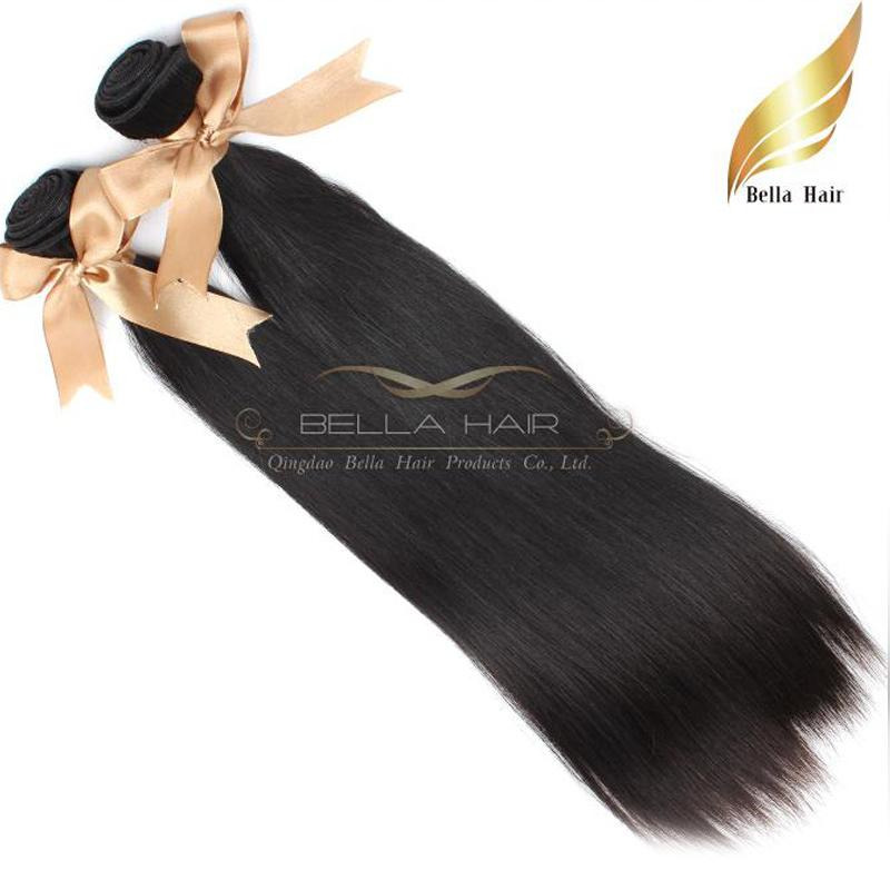 """10 """"-34"""" 100% Düz Malezya Saç Örgüleri 2 adet / grup Virgin İnsan Sadexensions Doğal Renk Siyah Bellahair"""