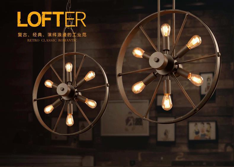 2016 년 새로 도착한 로프트 샹들리에 산업 바람 휠 램프 독창적 인 카페 레스토랑 개성 복고풍 미국 국가 철 샹들리에