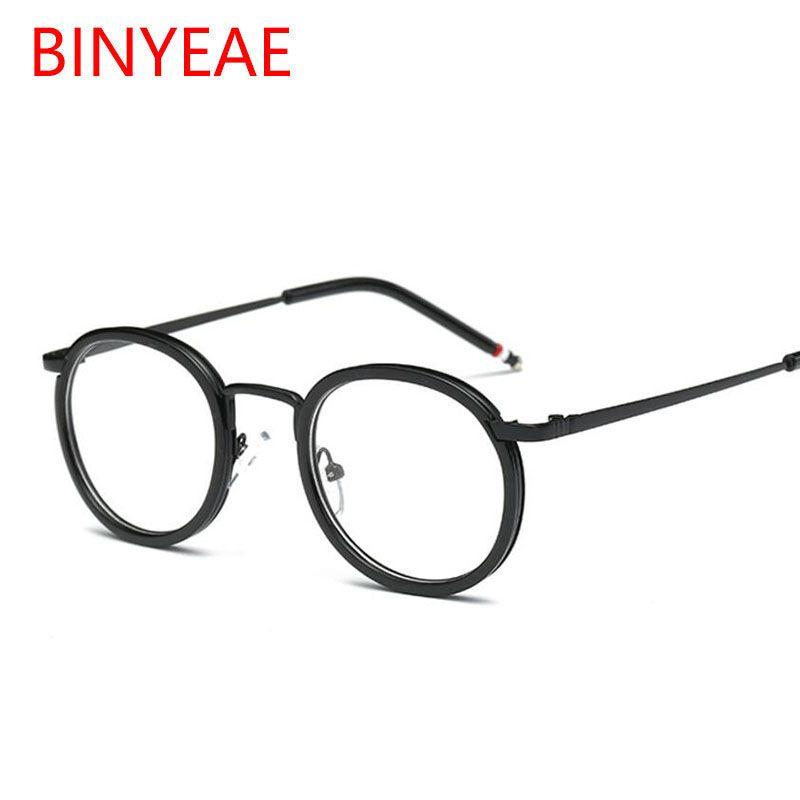 Gafas transparentes redondas para mujer Montura de gafas ópticas Lente transparente Gafas graduadas Diseño de la marca 2018 Gafas miopía Gafas de vista