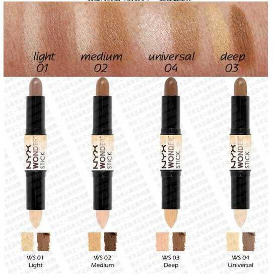 12pcs/lot Free Shipping NYX Wonder Stick Concealer Eye Face Makeup Cover Women Med Tan Highligher Light Deep Medium Universal 4 Colors