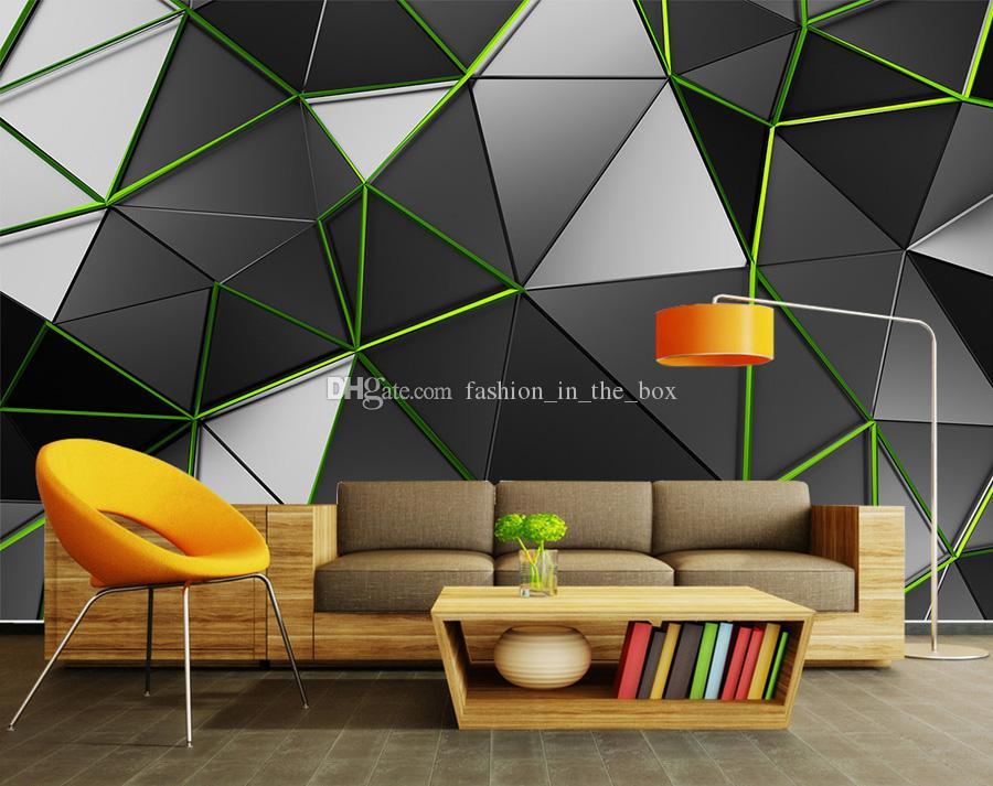 3d Creative Wallpaper Geometry Green Line Wall Mural 3d Wallpaper