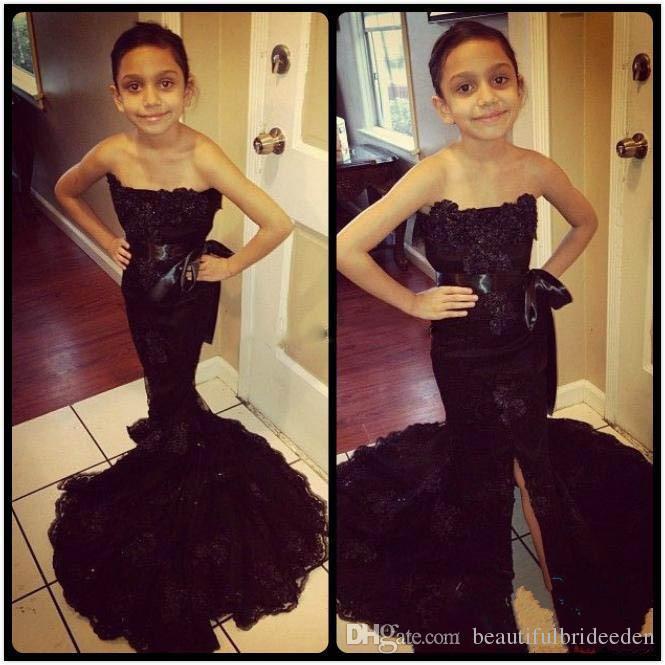2017 Güzel Siyah Uzun Dantel Bölünmüş Mermaid Çiçek Kız Elbise Sashes ile Omuz Örgün Çocuklar Pageant Törenlerinde Kapalı