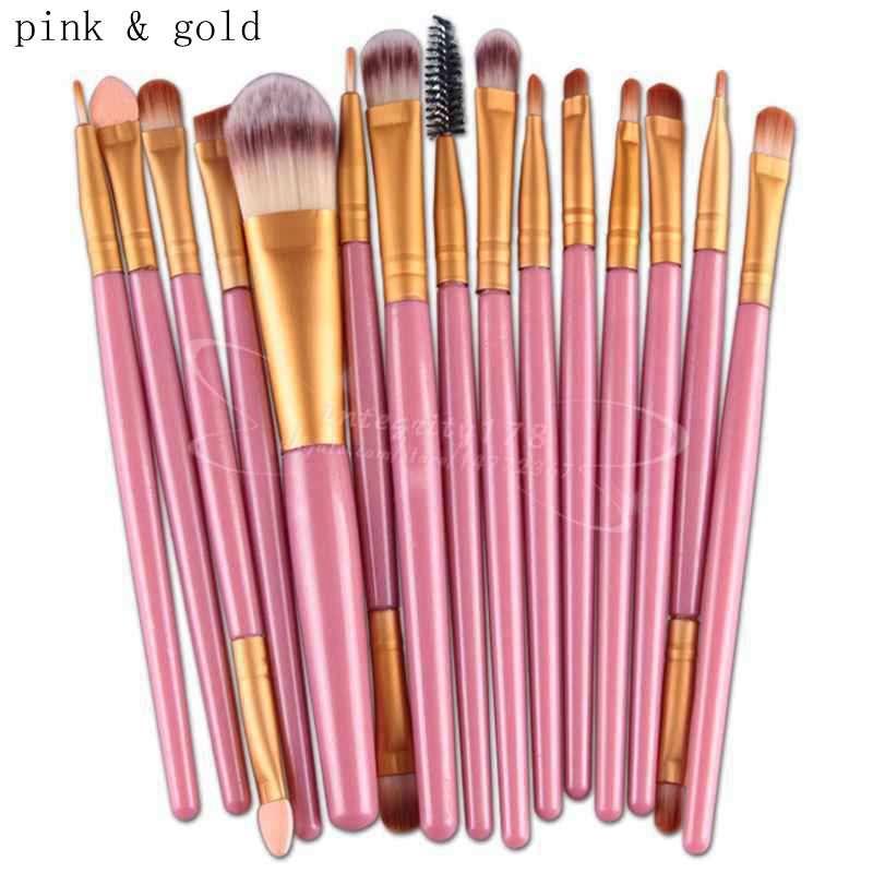 15 pcs pincéis de maquiagem cosméticos Set Powder Foundation Eyeshadow Eyeliner Lip Brush Ferramenta Marca Make Up Brushes Ferramentas de Beleza Pincel Maquiagem